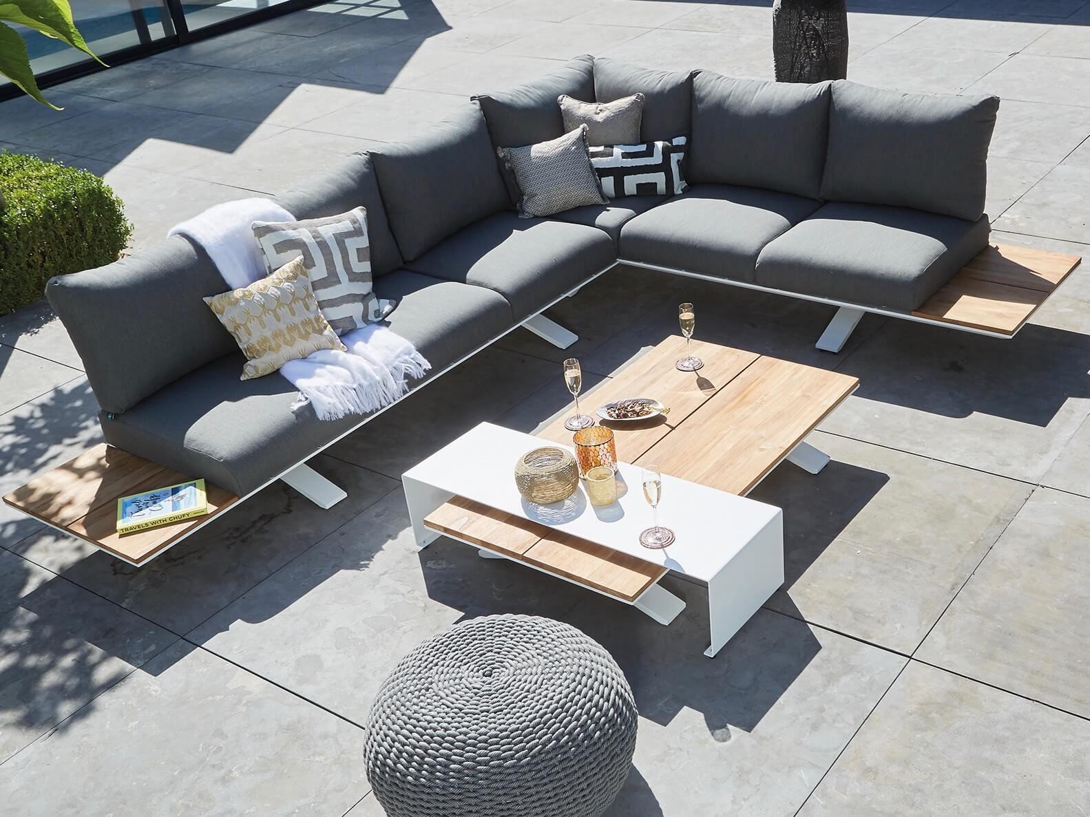 design hoek loungebank teak
