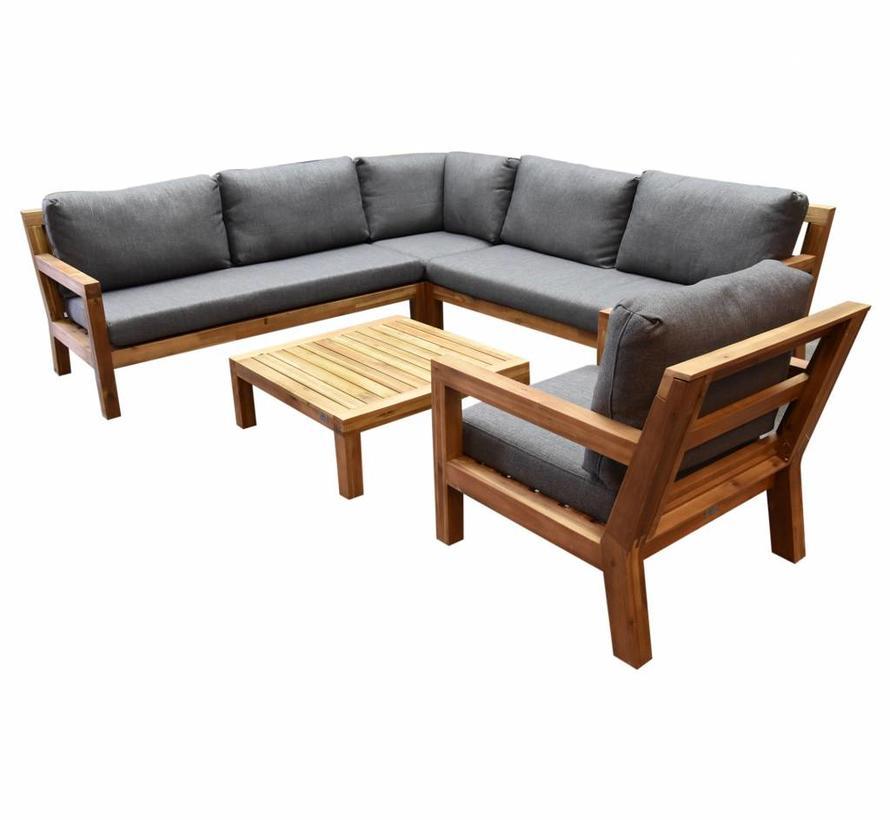 houten hoek loungeset voor buiten