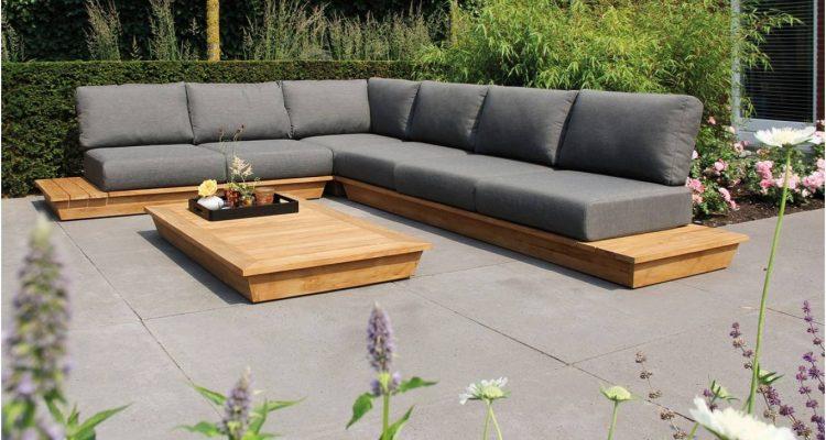 mooie houten hoek loungeset