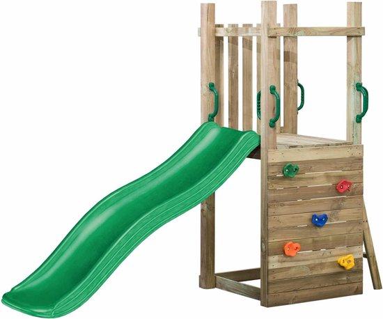 speeltoestellen van hout met glijbaan