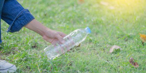 fles in tuin